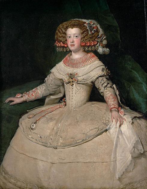 Мария Терезия Австрийская (Испанская) — первая жена и одновременно двоюродная сестра Людовика XIV. Портрет работы Диего Веласкеса