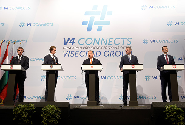 Бывший канцлер Австрии Себастьян Курц и главы Вишеградской группы