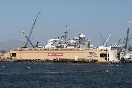 Крейсер ВМС «Лейк Эри» в сухом доке