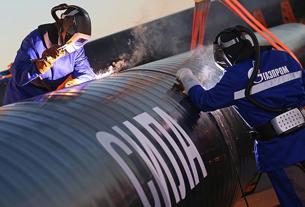 Соединение первого звена магистрального газопровода «Сила Сибири»