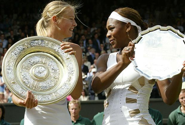 Уимблдон-2004. Церемония награждения. Мария Шарапова и Серена Уильямс