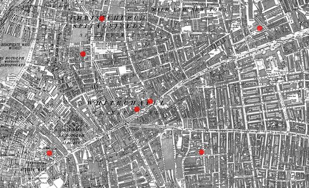 Места убийств Джека-потрошителя на карте Лондона