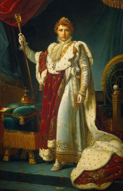 В отличие от многих Бурбонов, Наполеон в жизни предпочитал достаточно простую одежду. Но целый ряд портретов в императорском платье все же заказал. Франсуа Жерар. «Портрет Наполеона I»