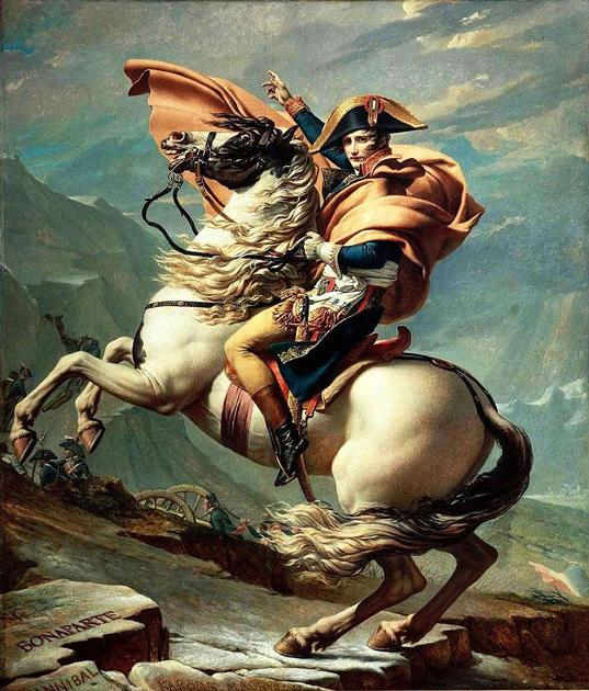 Жак-Луи Давид был одним из любимых художников императора. «Бонапарт на перевале Сен-Бернар»