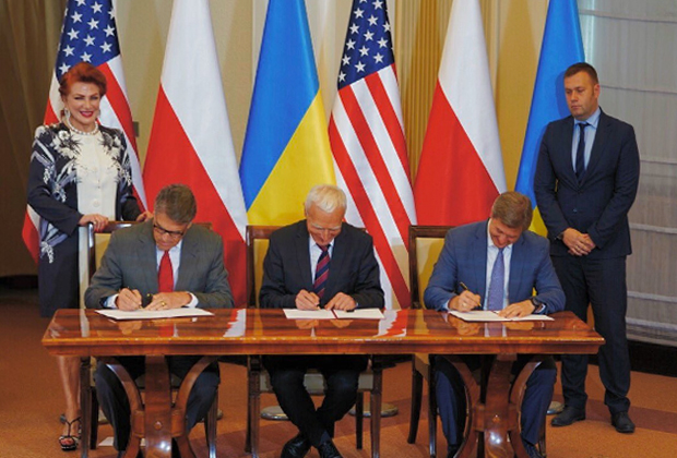 Подписание соглашения о безопасности поставок газа представителями США, Польши и Украины