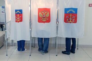 Избиратели в кабинах для голосования на избирательном участке