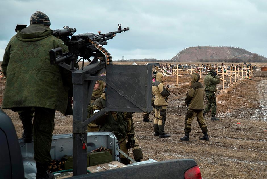 Кладбище под городом Моспино в юго-восточном пригороде Донецка. Участок, выделенный для захоронения бойцов ополчения ДНР