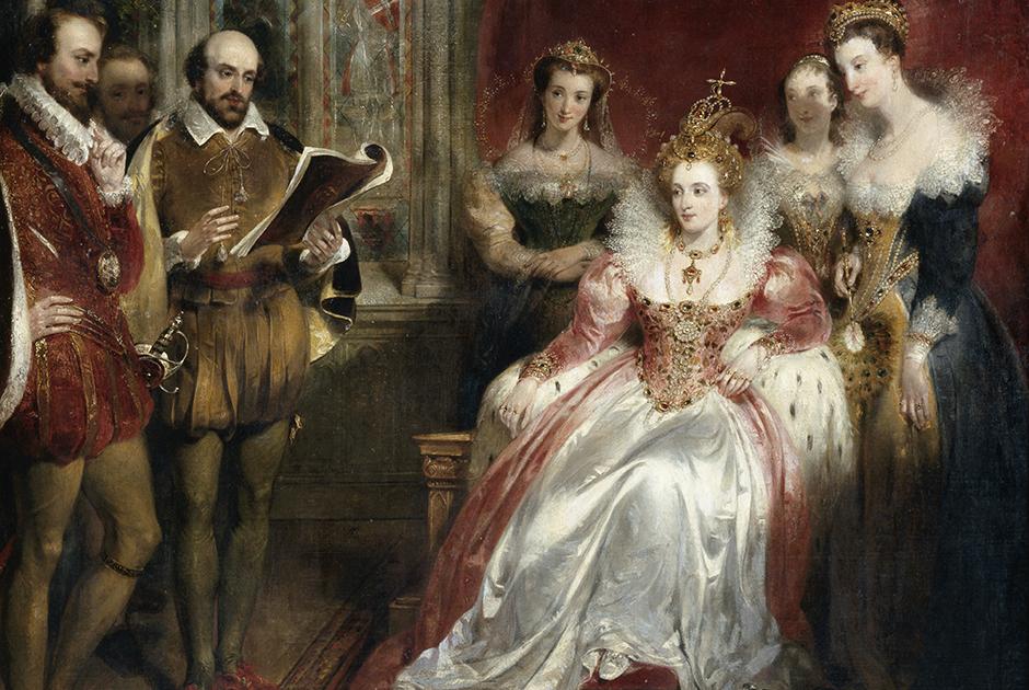В историю королева-девственница вошла как покровительница искусств и пиратов. Картина Джона Джеймса Шалона «Уильям Шекспир читает королеве Елизавете I».