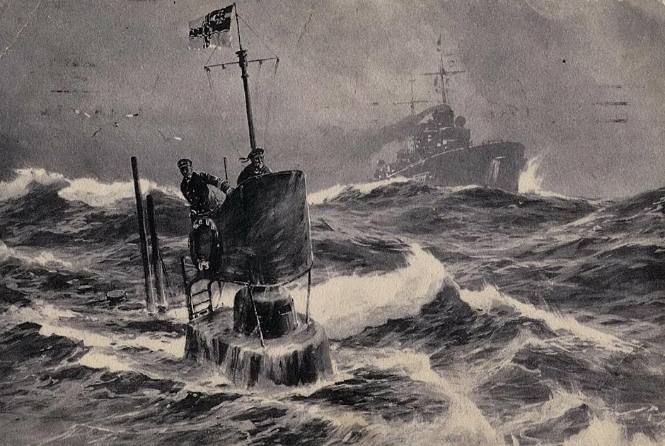 1914 год. Германская подводная лодка U3 в Северном море