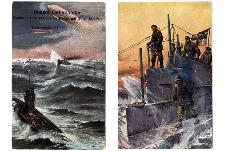Германская подводная лодка борется со штормом
