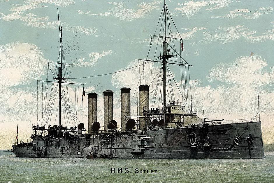 Броненосный крейсер «Сутлей» (H M S Sutley — на открытке опечатка в последней букве). Второй в классе броненосных крейсеров «Кресси»
