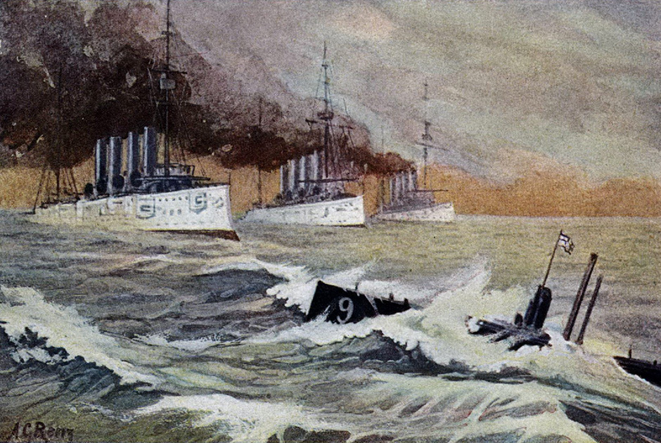 В 7 часов утра 22 сентября 1914 года тяжелые крейсера «Абукир», «Хог» и «Кресси» шли прямым курсом со скоростью 8 узлов