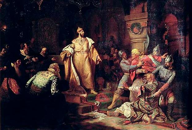 Картина Н.С. Шустова «Иван III свергает татарское иго»