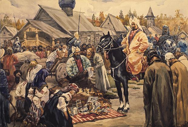Акварель С.В. Иванова «Баскаки»