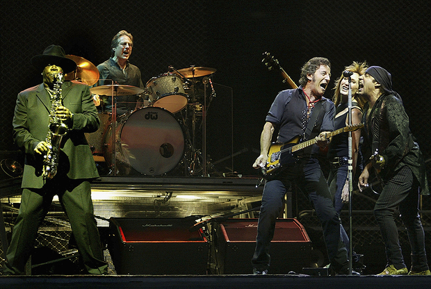 Bruce Springsteen In Concert at Giants Stadium, NJ  EAST RUTHERFORD, NJ - JULY 21: Bruce Springsteen (3rd R) and the E Street Band perform on stage at Giants Stadium on July 21, 2003 in East Rutherford, New Jersey. Springsteen is playing ten sold-out shows at the arena. (Photo by Mario Tama/Getty Images)