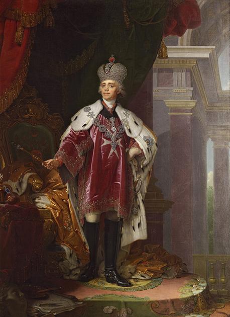 Павел I в короне, далматике и знаках Мальтийского ордена в исполнении художника Владимира Боровиковского