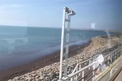 Появилось видео поездки в дизельном поезде по Крымскому мосту