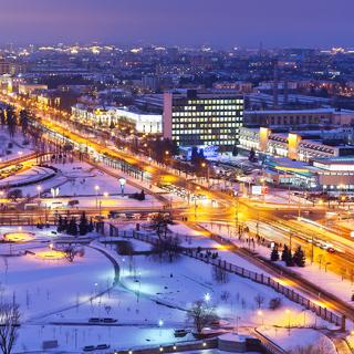 Ночная зимняя панорама Минска, Беларусь