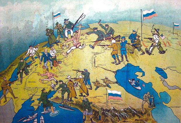 Белый плакат с составом антибольшевистских сил в Гражданской войне, 1919 год