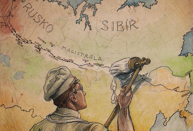 Плакат Франтишека Паролека «Белое!», 1918 год. Чехословацкие легионеры «отбеливают» взятую ими под контроль Транссибирскую магистраль