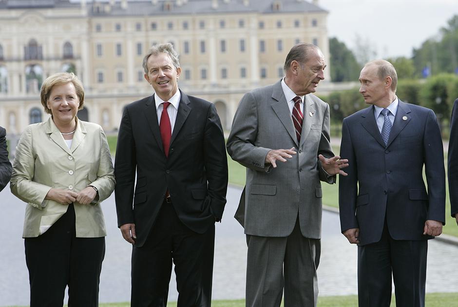 Ангела Меркель, Тони Блэр, Жак Ширак и Владимир Путин, 2006 год