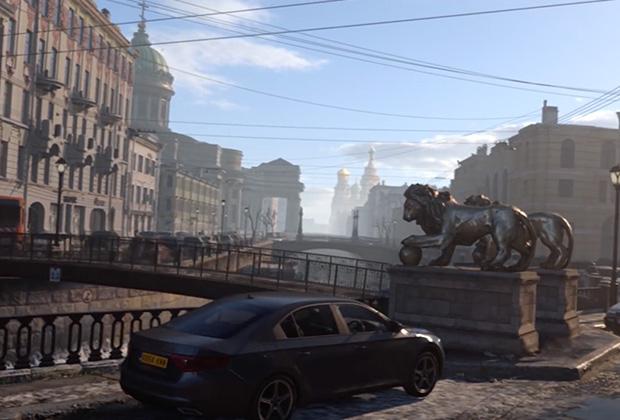 Копия Банковского моста (Санкт-Петербург) в CallofDuty ModernWarfare. В реальности здесь находятся крылатые грифоны, а не львы
