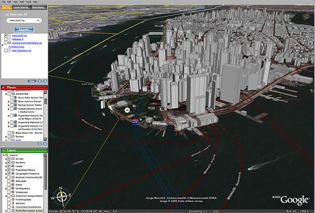 Нью-Йорк на ранней версии Google Earth. 2006 год.