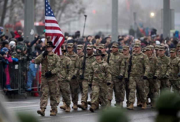 Американские военные на параде в Вильнюсе, ноябрь 2018 года