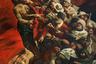 """Художник-монументалист Вадим Каджаев посвятил свое искусство историям народов Кавказа. На полотне «Собачья гора», к примеру, изображена казнь преступника, которого разъяренная толпа готовится сбросить с обрыва. По словам автора, который переехал из Цхинвала в Санкт-Петербург и окончил Институт имени Репина, при работе с композицией его учили «рисовать то, к чему ты неравнодушен». «Я думаю, что каждый человек любой национальности любит свою Родину и хочет рассказать о ней, пусть иногда и не в радостных красках. Но это все равно — рассказ о Родине, о том, из чего ты сам состоишь», — <a href=""""https://sputnik-ossetia.ru/South_Ossetia/20151128/929755.html"""" target=""""_blank"""">утверждает</a> Каджаев."""
