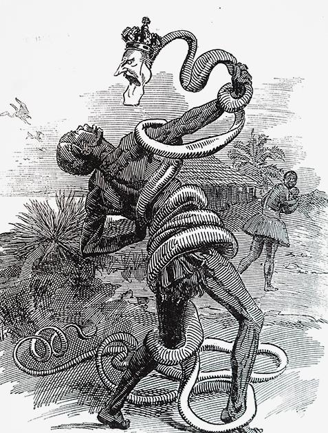 Карикатура на методы правления Леопольда II в Свободном государстве Конго. В 1908 году Конго сменило статус с личного владения короля Бельгии на колонию Бельгии. Вместе с этим территория сменила название на Бельгийское Конго, а условия труда местного населения улучшились