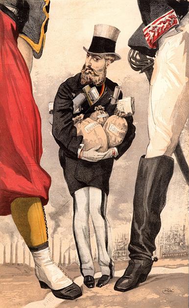 Карикатура «Конституционный монарх» Жак-Жозефа Тиссо, вышедшая в Vanity Fair 9 сентября 1869 года. Леопольд держит в руках индустриальные богатства Бельгии, зажатый между Францией и Германией