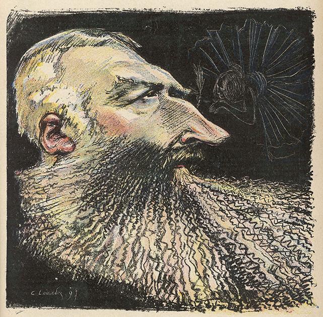 Карикатура Шарля Лендра на Леопольда II в журнале Le Rire («Смех») от 26 июля 1897 года, высмеивающая его длинный нос