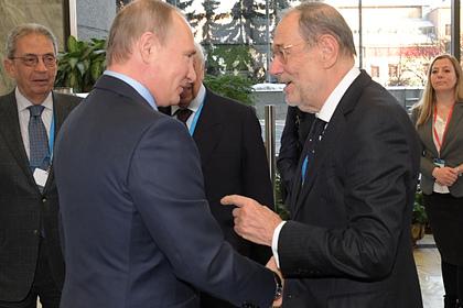 Владимир Путин и бывший генсекретарь НАТО Хавьер Солана в Москве, 30 ноября 2016 года