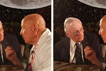 Гитарист Queen опубликовал фото космонавта Леонова с Нилом Армстронгом