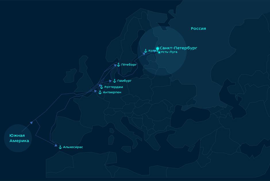 Маршруты поставок кокаина в Россию. Скриншот из расследования «Ленты.ру»