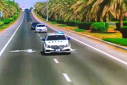 Арабы встретили Путина на полицейских Mercedes с надписью «ДПС»