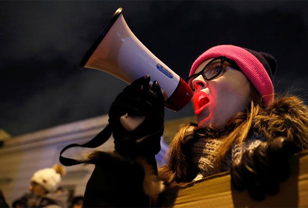 Протест против запрета на аборты в январе 2018 года