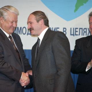 Борис Ельцин, Александр Лукашенко и Билл Клинтон