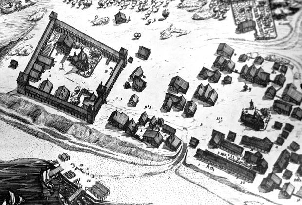 Набросок Мангазеи, сделанный археологами в 1969 году