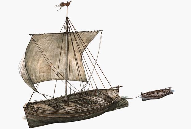 Эскиз коча — русского арктического судна