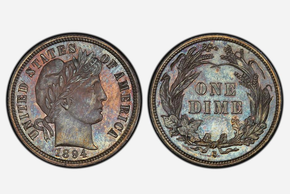 Десятицентовики из серебра чеканились в США с 1892 по 1916 годы. На аверсе монеты — бюст женщины, символизирующий свободу, а на реверсе — венок из пучков пшеницы, оливковых ветвей и кукурузных початков. Народное название «дайм Барбера» монета получила в честь главного гравера Монетного двора США Чарльза Барбера, который разработал ее дизайн.
