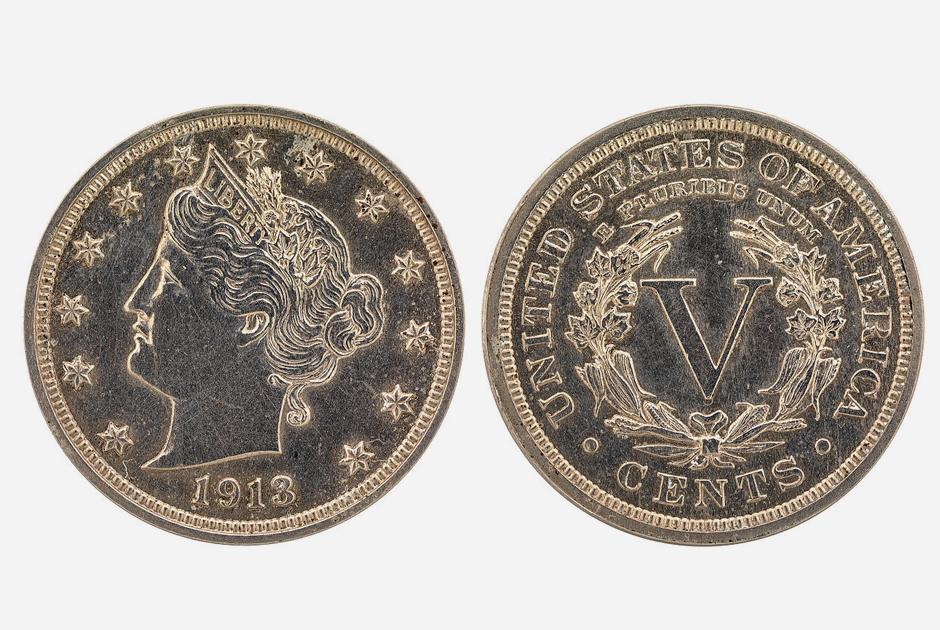 Пятицентовая монета с головой Свободы — одна из самых редких в кругах нумизматов. Выпуск таких монет завершился в 1912 году, но в 1913-м еще несколько экземпляров были изготовлены нелегально. На текущий момент известно только о пяти экземплярах: два находятся в частных коллекциях, остальные — в музеях.