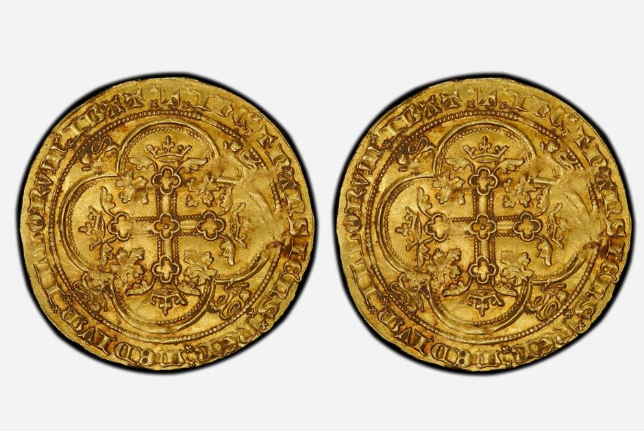 Английский золотой флорин появился в 1343 году. На профиле изображен король Эдуард III под балдахином в виде леопарда с короной. Чеканить флорины перестали всего через год — в 1344-м. Сейчас известно о существовании трех таких монет.