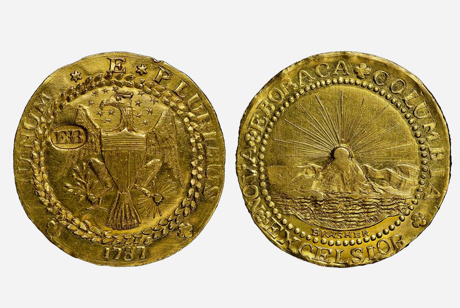 Дублон Брашера, получивший название от имени ювелира, считается первой монетой, отчеканенной в США из золота с долларовым номиналом. Дублоном ее назвали из-за веса: она весила примерно столько же, сколько испанский золотой дублон — 26,6 грамма.
