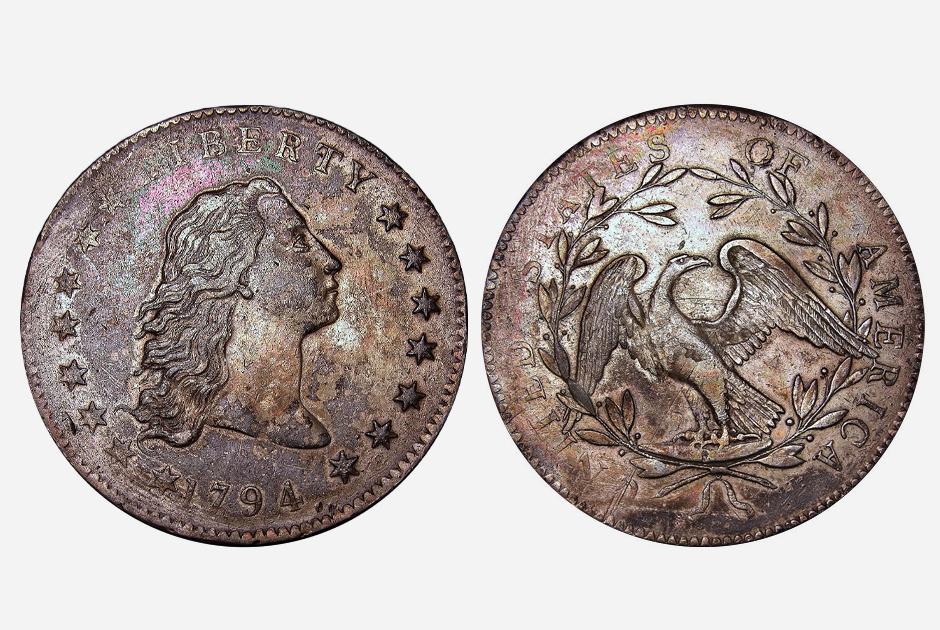 Монета, состоящая на 10 процентов из меди и на 90 процентов из серебра, стала первой долларовой монетой, выпущенной федеральным правительством США в 1794 году. Свобода на ней изображалась с распущенными волосами.