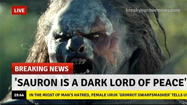 """«""""Саурон — мирный Темный Властелин"""", — несмотря на ненависть людей, высказывается урук-хайская женщина Гримрот Гномодавительница»"""