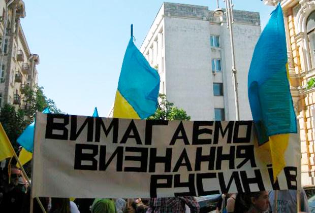 Русины Закарпатья вышли на улицы с требованием особого статуса автономии (2015)