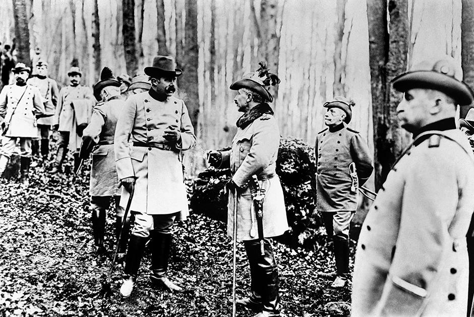 Вильгельм II и наследник Австро-Венгерского трона эрцгерцог Франц-Фердинанд на охоте
