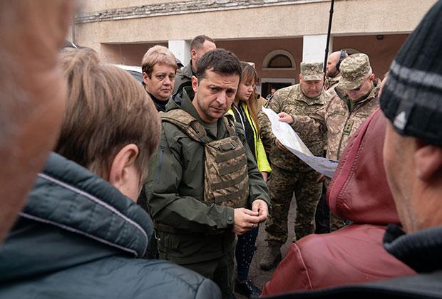 Зеленский на линии разведения войск в Золотом. Октябрь 2019 года