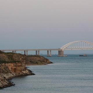 Грузовые суда под мостом через Керченский пролив